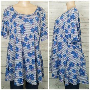 LuLaRoe  XL Top Blue Gray Striped Tunic Shirt